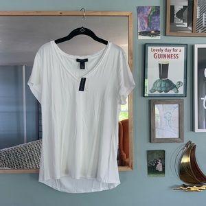 NWT Large White House Black Market White T-Shirt